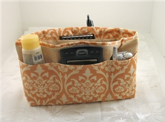 Purse Organizer Insert- Peach and Beige Damask Print- Medium- See listing for zipper pouch to match