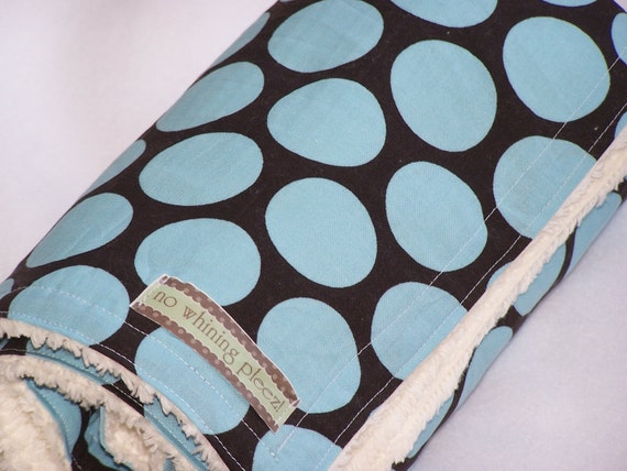 DoLLaR OFF Free  washie with Blue and Brown Dot Chenille Blanket