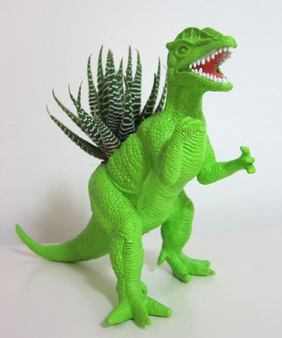 Rick the Dilophosaurus Planter & Succulent
