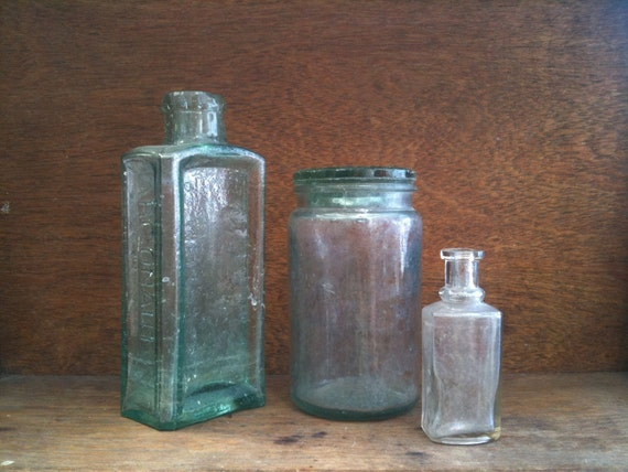 Three Assorted English Vintage Glass Jars / Bottles