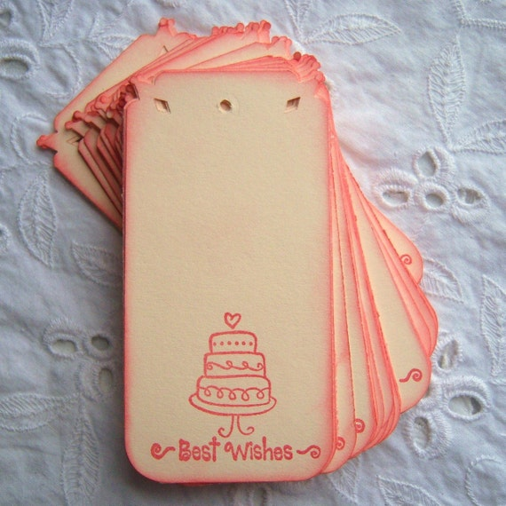 50 Best Wishes Tags in Red Handmade and Stamped
