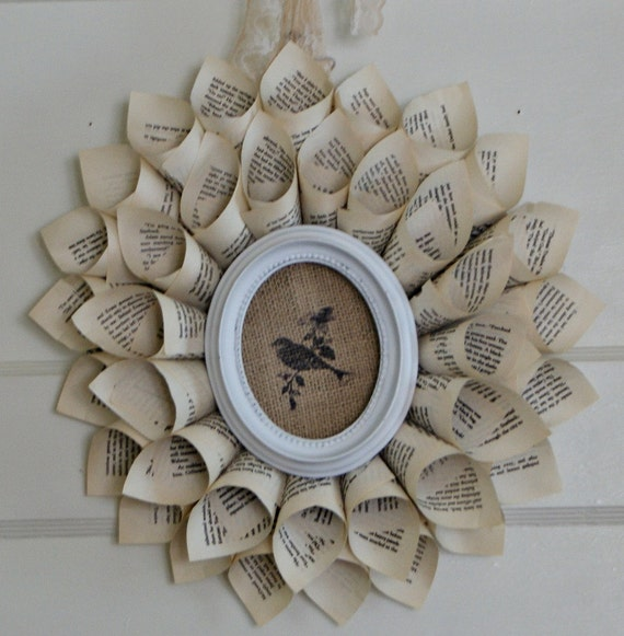 vintage book page wreath, burlap and bird in antiqued oval frame