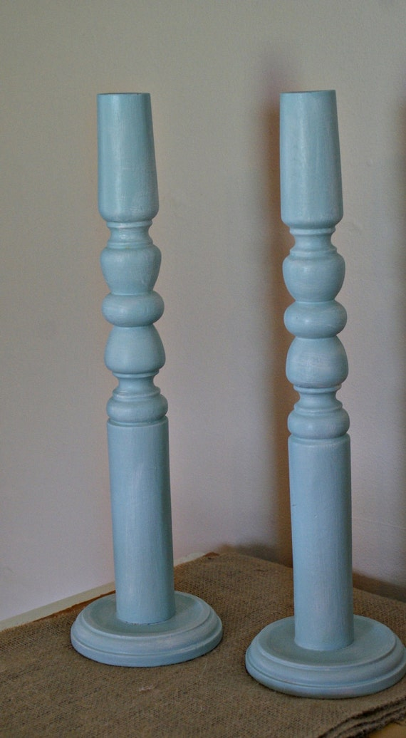 Pair of aqua candle sticks