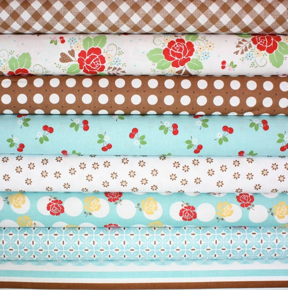 Sew Cherry Fabric by Lori Holt for Riley Blake- Fat Quarter Bundle, 8 total