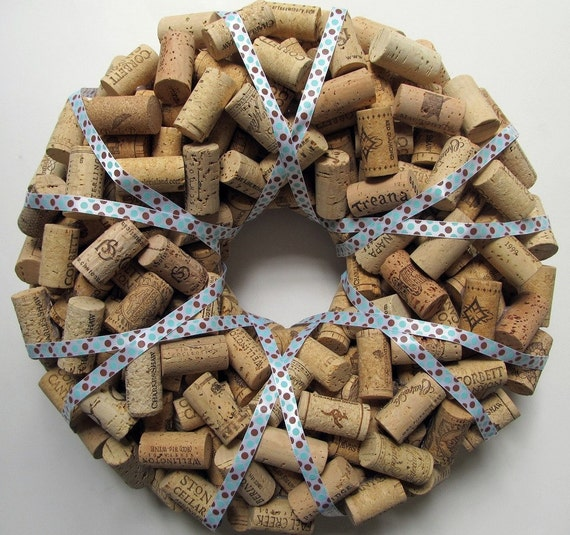 Polka Dot Wine Cork Wreath