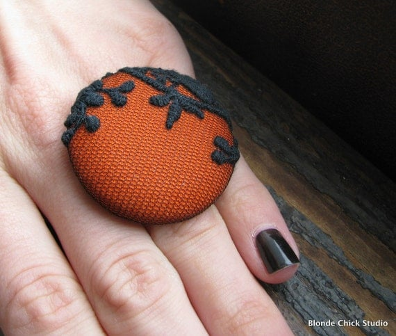 DECO RING no.10-Pumpkin Orange Fabric with Black Embroidered Lace Netting Overlay Spooky Halloween Ring-Made To Order