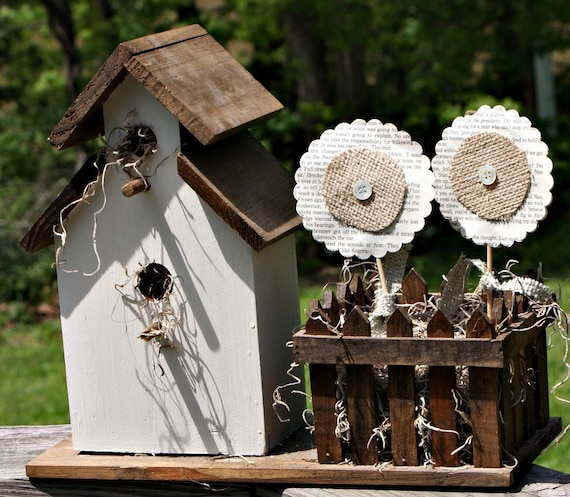 birdhouse planter with vintage book page and burlap flowers