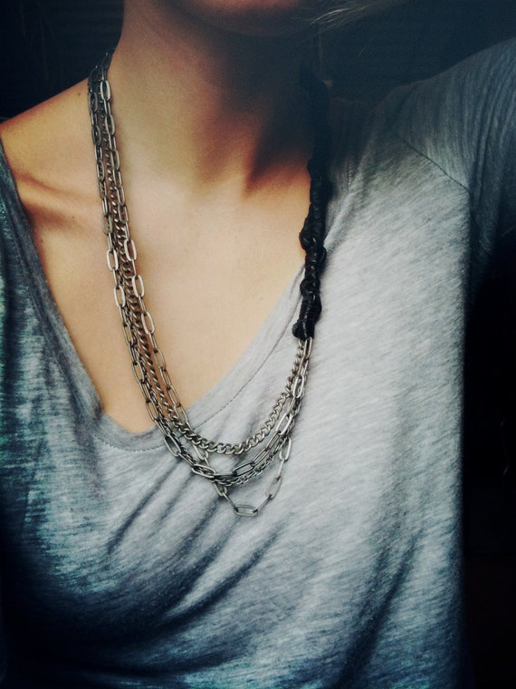 Braided Leather Mulit-Chain Necklace