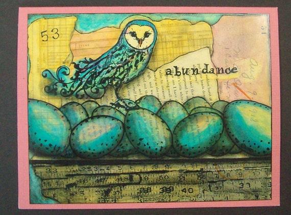 "Owl & Egg ""Abundance"" aceo fine art print Giclee greeting card blank"