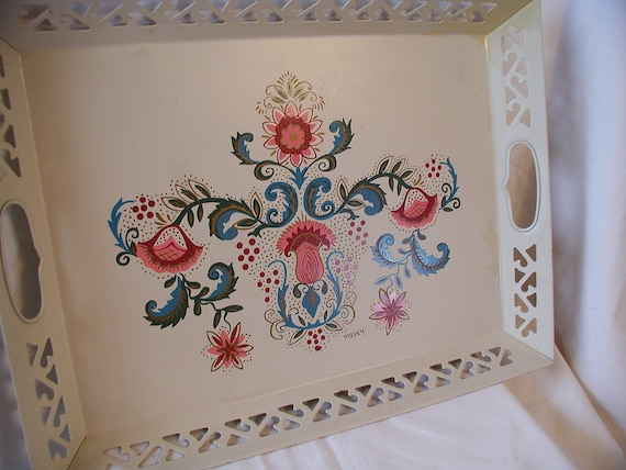 "Vintage Hand Painted Tole Tray Filigree ""Maxey"""