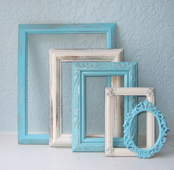 Turquoise and Cream Painted Shabby Chic Frame Collection