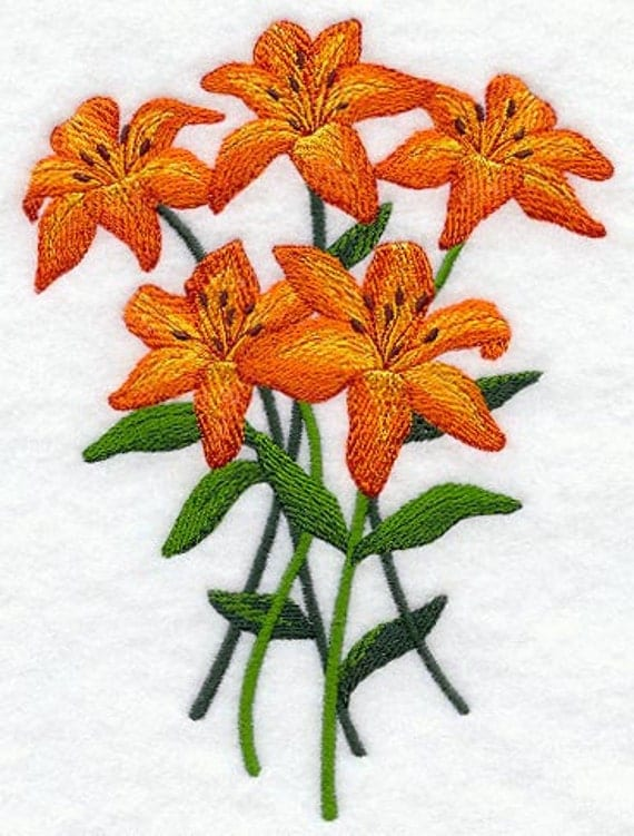 pink tiger lily bouquet. Tiger Lily Bouquet Embroidered