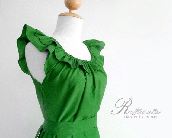 Custom ruffled collar dress w/ pockets, sash in green