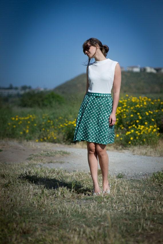 vintage 60s mini polka dot skirt dress- s