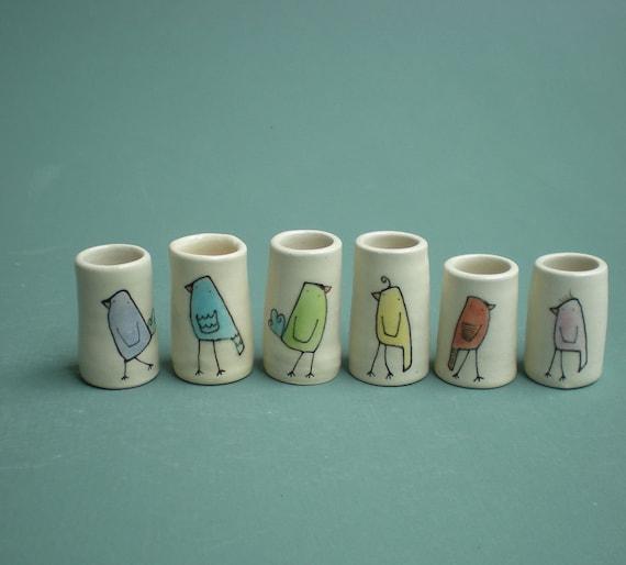 rainbow bird vases