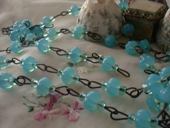 Baroque Aqua Blue Opaline Beaded Rosary Chain Aged Dark Patina wire links Czech Glass beads