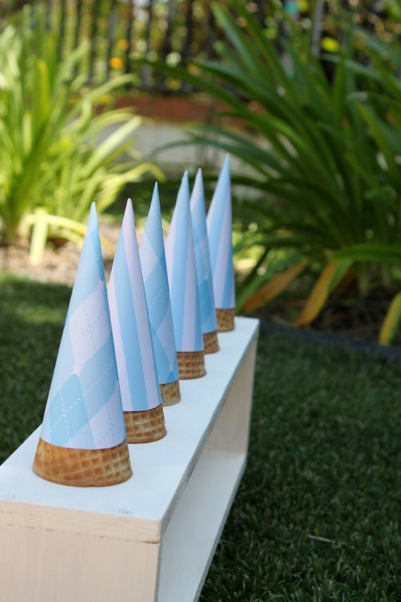 RESERVED FOR ThielCollarM - Blue Striped Ice Cream Cone Wrappers (Set of 24)