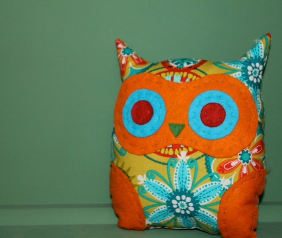 owl cushion retro 1960s