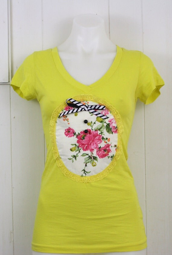 Tee V neck Floral Yellow XS