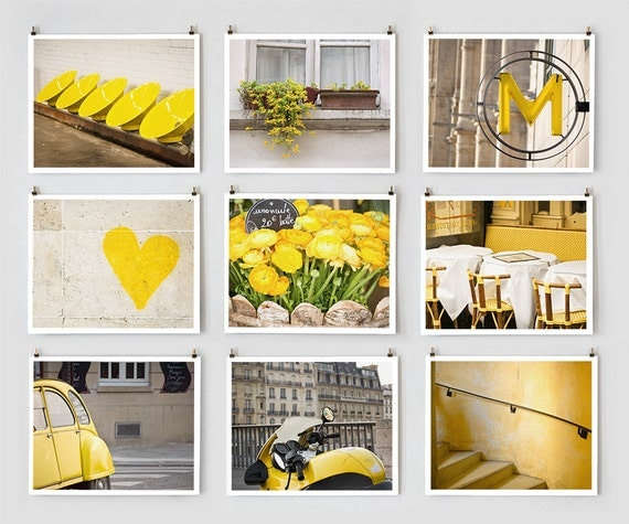 Paris Photography Collection, Yellow -French  Fine Art Photograph Art Prints- Paris Decor - Large Wall Art - Yellow Home Decor - Wall Decor