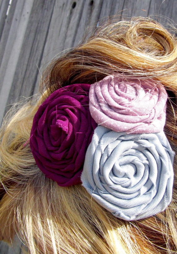 Summer love fuschia rosette trio headband