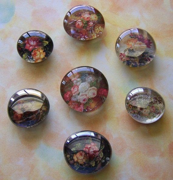 Set of 7 Assorted Upcycled Flora Glass Marble Magnets