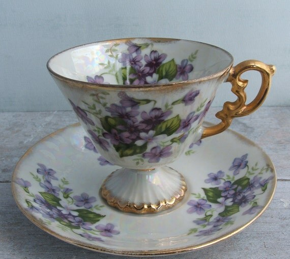 Vintage Lustreware Tea Cup and Saucer with Violets