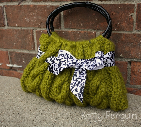 Green Cable Knit Purse Handbag