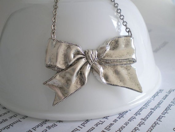 Big bow necklace, statement piece, antique silver