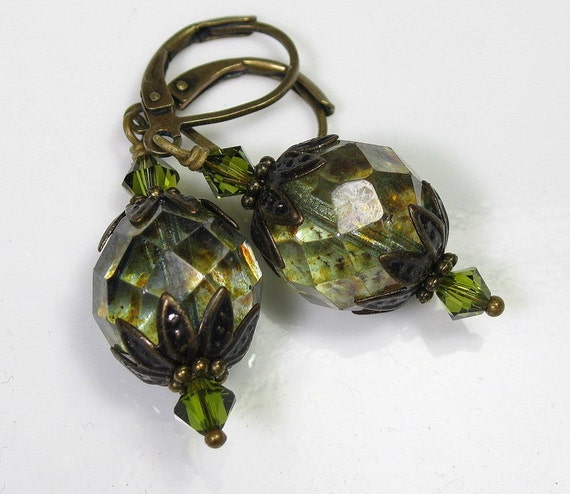 Vintage Style Olivine Luster Czech Glass Earrings