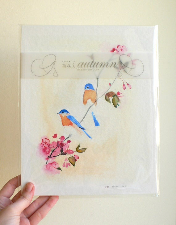 30% off SALE - Birds and Blossoms - Limited Edition - 11/200 - 8 x 10 Giclee Print - Bluebirds with Cherry Blossoms