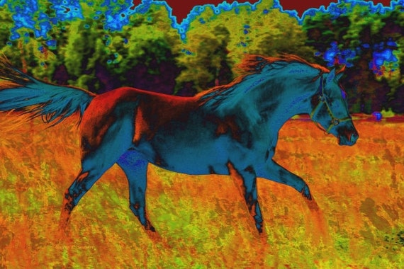 Abstract Horse Running Giclee Print 8 x 10