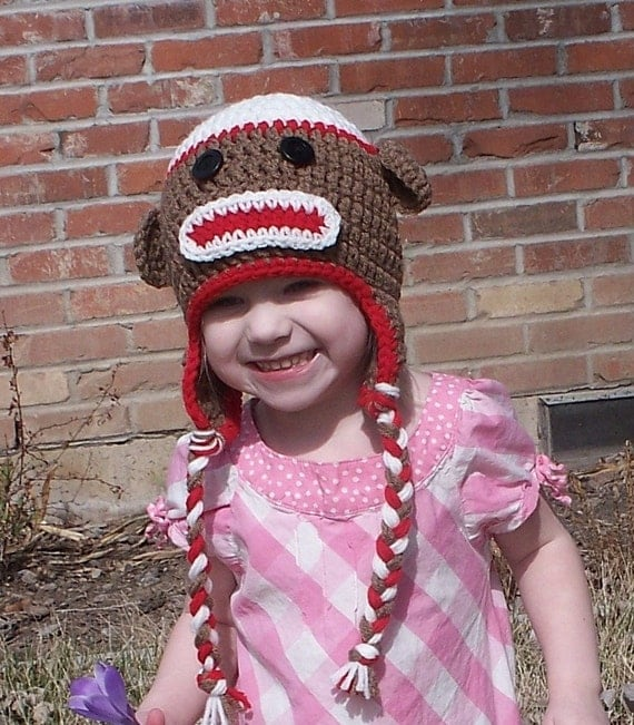 Red Sock Monkey Hat Newborn to 3T