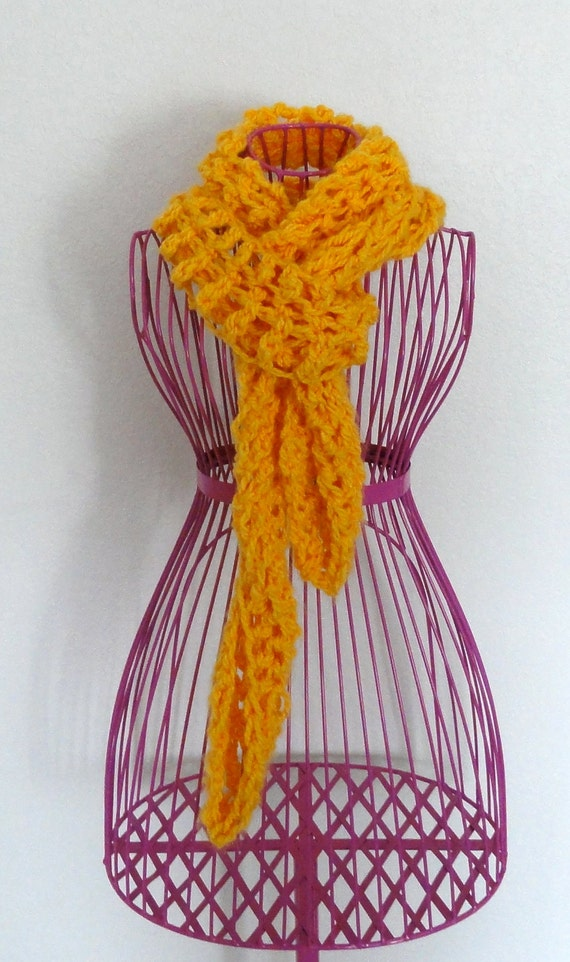 Hand Crocheted Spring Thick Cozy Long Yellow Lace Scarf Neck warmer
