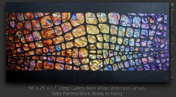 Original Large Abstract Contemporary Fine Art- Impasto Textured Metallic Modern Palette Knife Painting by Susanna 48x24 - MADE TO ORDER