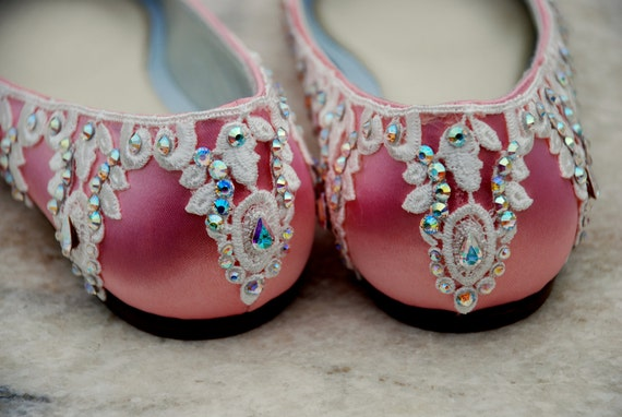 Belle Wedding Shoes Bridal Ballet Flat Ivory Lace Swarovski Crystals
