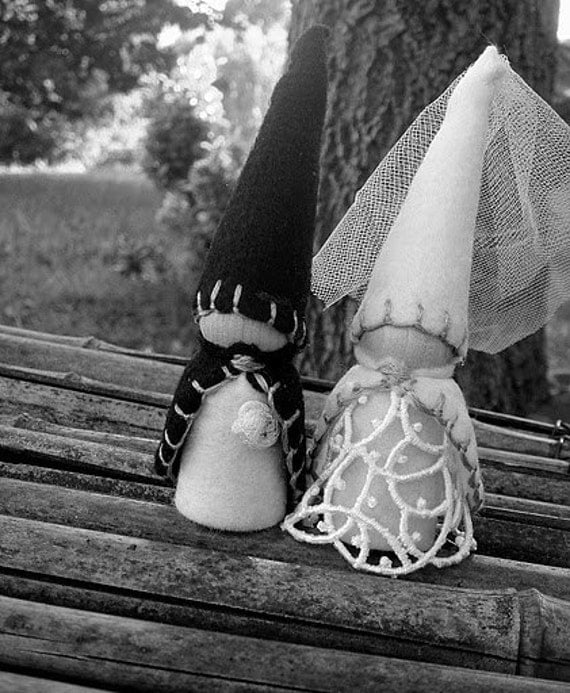 Bride and Groom Wedding Gnome Elf / Wood and Felt -  Custom Limited Edition