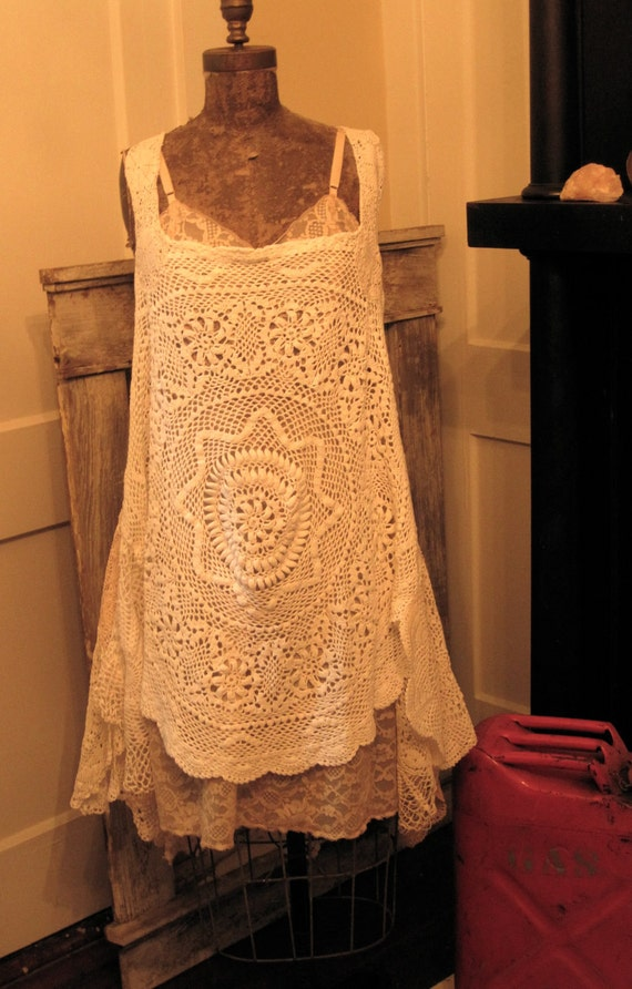 Vintage Handmade Crochet Dress 8-10