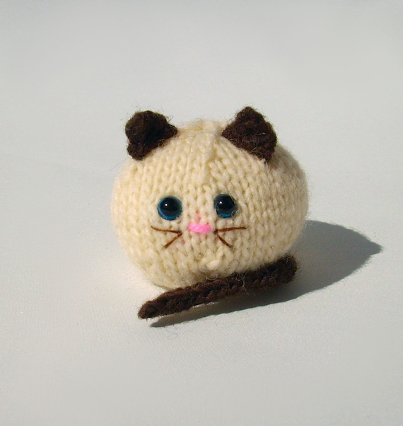 Knitted fat cat amigurumi handmade collectible miniature ...