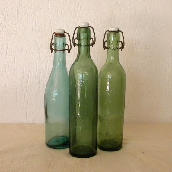 Vintage French lemonade and beer bottles
