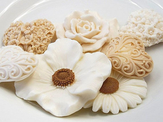 Decorative Gift Soap  Blooming Beige Collection by SoapRhapsody from etsy.com