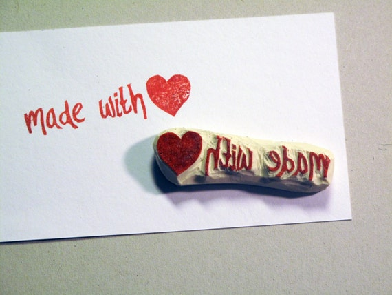 Made with Love - Hand Carved . Unmounted . Rubber Stamp