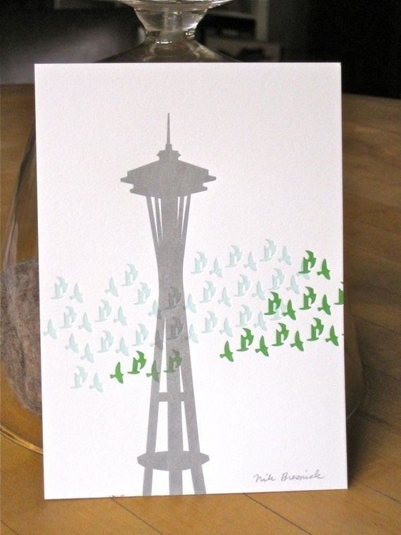 letterpress space needle with green and pale blue flock