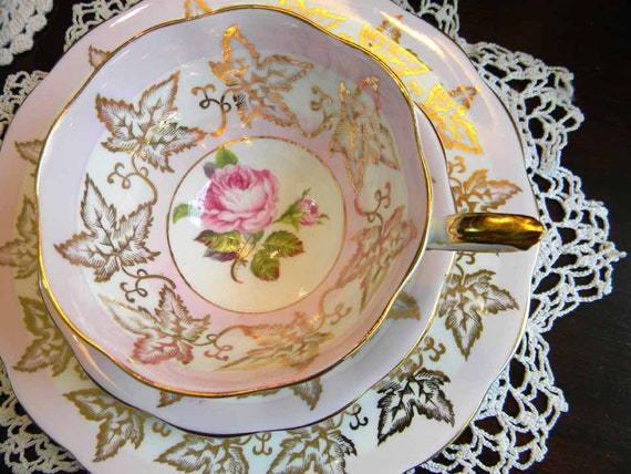 Royal Standard Footed Bone China Pink Roses and Gold Trio Teacup Saucer and Plate England 3781