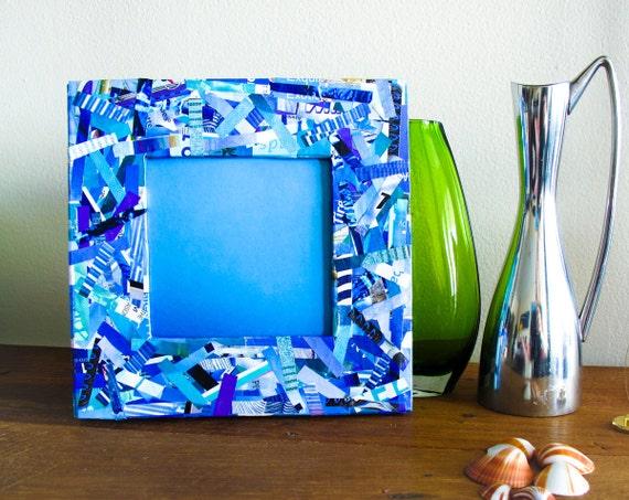 Восстановленный Frame журналы - площадь синяя рамка сделаны из переработанных журналы