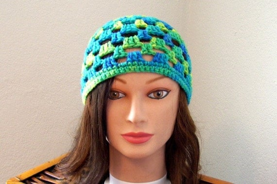 Open Crochet Beanie Variegated Blues Yellows Greens