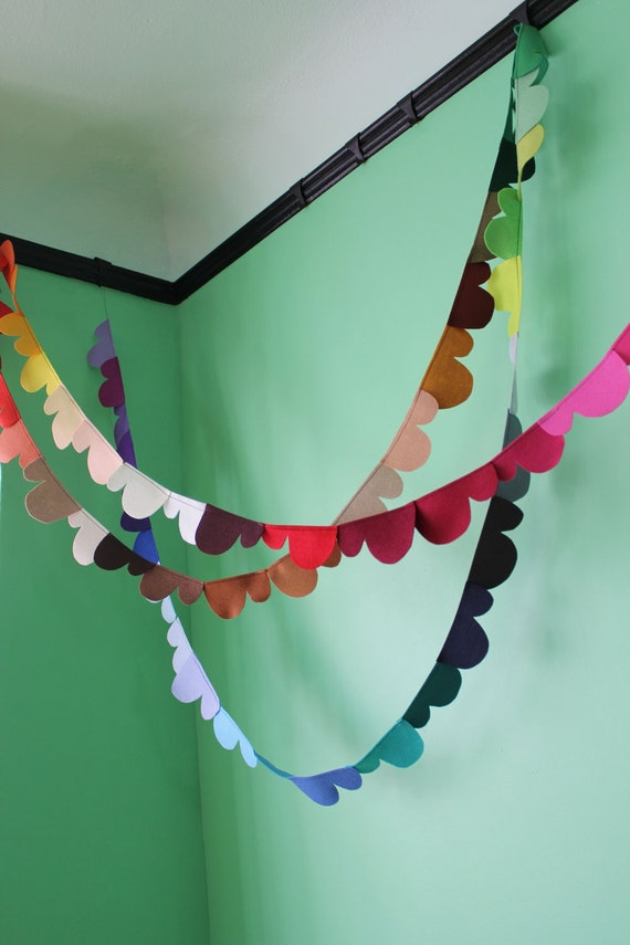 prismatic clouds felt garland