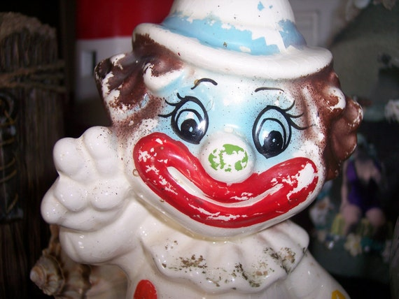 Happy Smiling Vintage Clown Piggy Bank