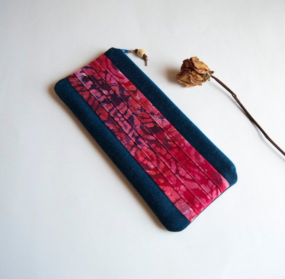 On Sale 15% OFF -  Big Romantic Colorful pleats in red pink and  dark blue denim zippered pouch, purse, clutch by Lolos