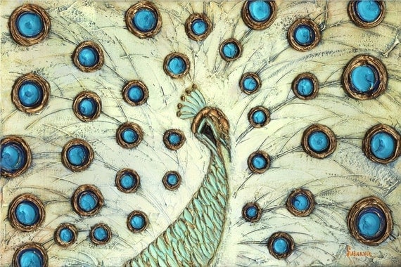 Abstract white peacock large modern contemporary Fine Art PRINT 16x24